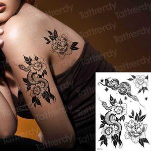 tatouages temporaires dos serpent noir tatouage sexe fleur pour tatouage femme filles stretch conçoit autocollants corps autocollant de transfert d'eau