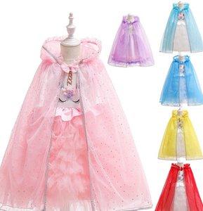 Capa del traje de los niños de Halloween Día del mantón del cabo muchacha de la ropa de la princesa cosplay niños cabos de dibujos animados princesa del poncho KKA7735