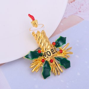 Fashion Retro Christmas Candle Holly Crystal Brooch Pins Holiday Party Gifts