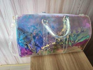 2020 sacs à main sac Keepall 50 50cm Laser PVC transparent Duffle Bag couleur brillant bagages sac à main Capacité du sac Voyage grand