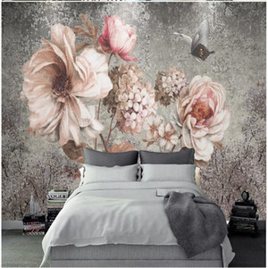 custom photo wallpaper Vintage oil painting flower background wall oil painting rose wallpapers decoration painting