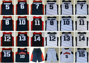 2012 Team USA Kevin 5 Durant LeBron 6 James Harden 10 Bryant Chris Paul Williams Westbrook Davis Stitched Blue White Basketball Jerseys