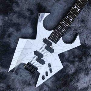 Custom Neck Through Body Ebony Fingerboard 4 Strings Crack Mirror Electric Bass Guitar Accept Customized Guitar Bass Project