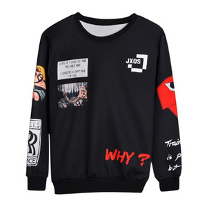 Mens Sweatshirts New Fashion Style 19ss 3D Letter Printed Long Sleeved Sweater Mens Round Neck Printing Sweatshirts