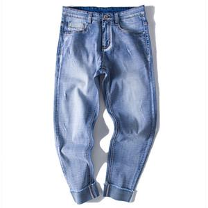 2018 Spring Fashion Designer Cuffs Hem Long Jeans Men Straight Light Blue Color Printed Mens Jeans Ripped Plus Size 6XL