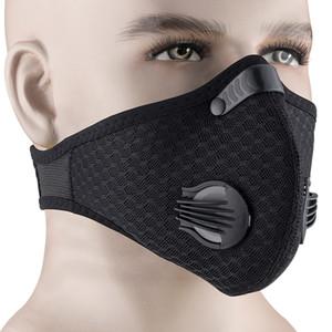 Anti-Polvere di esecuzione mascherina mascherine Outdoor Ciclismo viso carbonio respirazione Valve Mask Con PM2.5 Filtro Anti-Pollution di protezione del lato Maschera tattica