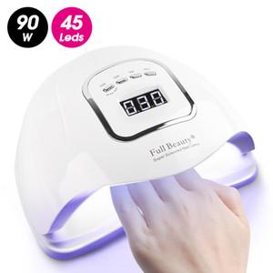 90W professionnel Lampes UV Nail Art sèche LED Lumière du soleil rapide Lampe à sec guérissant tous ongles Gel manucure Équipement intelligent polonais JIFB5X CY200513