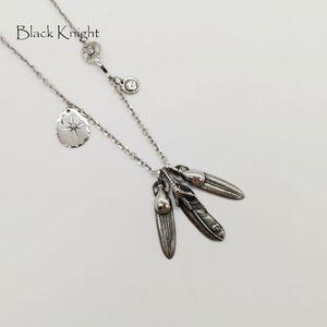Black Knight Vintage color plata Indian Eagle Feathers collar colgante para hombre de acero inoxidable collar de plumas múltiples BLKN0759