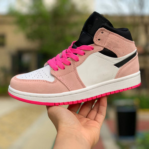 Jumpm 1 purpurnen Farbton 852.542 801 mit CRIMSON TINT HYPER PINK BLACK schoenen Größe 36-40 Art und Weise Turnschuhe Frauen chaussures gießen hightop