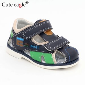 Cute Eagle Summer Boys Orthopedic Sandals Pu Leather Toddler Kids Shoes for Boys Closed Toe Baby Flat Shoes Size 22-27 No.A192 CX200706