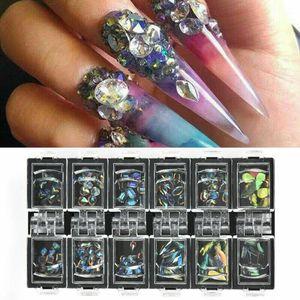 12 scatole 3D AB diamante del chiodo delle gemme di scintillio dei Rhinestones di vetro decorazioni nail art Decor Charm