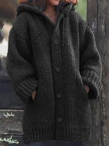 Kış Bayan Hırka Tek göğsü Gevşek Kapşonlu Kalın Örme Uzun Ceket Triko Örme Hırka Uzun Ceket Palto Casual Kazak