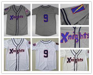 New genähtes # 9 Roy Hobbs NewYork Ritter The Natural Film Redford Baseball-Shirt Grau Weiß Mens-Baseball-Shirts