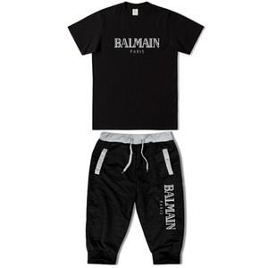 Balmain Hommes Designer T-shirts Pantalon Court Costume Respirant Casual T Shirt BALMAIN Hommes Femmes T-Shirt À Manches Courtes +7 Pantalons Mode costume sauvage