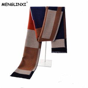 MENGLINXI Новый бренд зима кашемира плед шарф Мужчины Мода Дизайн Теплый шелковый платок шарф Мужской Высокое качество Мужчины Платки Y200110