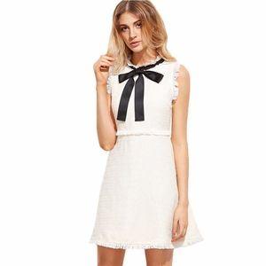 2019 Kadınlar Sonbahar Elbise Bayanlar Beyaz Parti Elbise Bow Tie Boyun Kolsuz Şık Tweed Elbise
