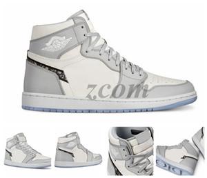 Дешевые 1 High OG Gray 2020 Mens Basketball обувь Дизайнер кроссовки Кроссовки 1S тиснение на верхнем днище корзины Кристалла