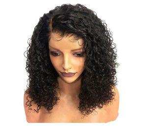 Peluca africana caliente de Europa y los Estados Unidos Capucha pequeña de pelo rizado Pelucas delanteras de encaje de color natural de 35 cm