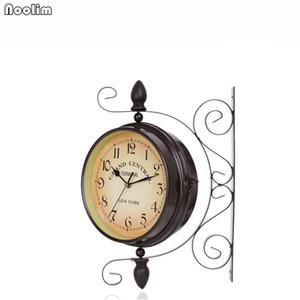 Avrupa Çift Yüz Demir Duvar Saati Retro Tasarım Mutfak Metal Saat Vintage Duvar Saatleri Reloj De Pared Çiftlik Dekoru Saatler