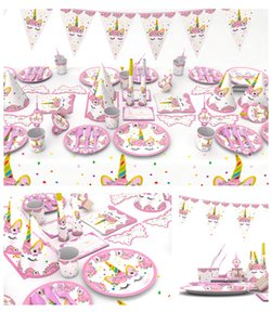 Pink unicorn Theme Children's Birthday Festival Party Set Paper Cup Paper Plate Table Cloth hat Coloured flag badge decorations supplies