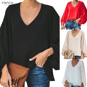 Laamei 2020 Womens Casual Sweet And Cute Solid Loose Shirt Casual Lantern Sleeve Balloon Sleeve V Neck Female Blouse Tops