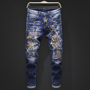 Homens 2021 jeans de luxo jeans apertado clássico diesel carro quadrado jeans rock renascentância homens jeans rocha renascimento motociclista diesel homens