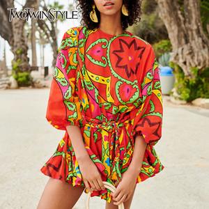 TWOTWINSTYLE Primavera stampa floreale del vestito per le donne o collo manica lunga vita alta Bandage femminile Abiti casual Moda 2019 Nuovo