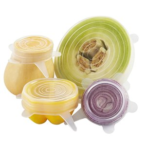 6 Pcs silicone cobre estiramento tampas reutilizáveis Airtight Food envoltório Mantendo Seal Bacia fresca Stretchy Enrole Tampa Kitchen Panelas