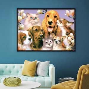 DIY 5D Diamond PaintingFull Drill Crystal Rhinestone Embroidery Happy dog family portrait Arts Craft for Home Wall Decor Gift 12X16inch