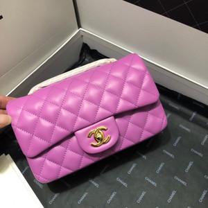 2020 nuevo color bolsa de la cadena de ante color púrpura, bolso cuadrado Señora comodín bolso de mano solo hombro, con la correa de hombro de la cadena, Tamaño 20 cm
