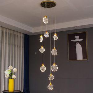 Modern Crystal Staircase Chandelier Lighting Long Loft Hanging Lamp Indoor Lighting Fixutures dining room LED Cristal chandlier