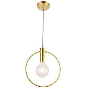 Círculo moderno rodada luz pingente de ferro minimalista retro escandinavo loft pingente de ouro lâmpada de metal Pendurado Lâmpada E27 Indoor luminárias