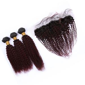 # 3Bundles 1B / 99J Vino Tinto de Malasia Virign cabello humano rizado rizado con vistas frontales Borgoña Ombre Cierre 13x4 encaje frontal con Tejidos
