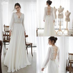 Asaf Dadush 2020 Manches Longues Boho Robes De Mariée En Dentelle Appliqué Cou Cou Robe De Mariée Une Ligne Plage Robes De Mariée Robe De Mariee