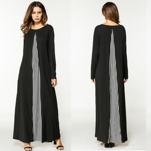 Мода Женщина печати Абай джилбаба мусульманского платья макси вскользь Женское национальная Robe Абай исламского мусульманский Ближневосточное длинное платье