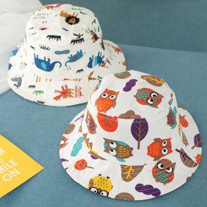 Bebek Hayvan Baskı Balıkçı Şapka Sevimli Çocuk Karikatür Güneşlik Cap Boy Spor Kepçe Hat Kız Seyahat Güneş Şapka LJ-TTA1087