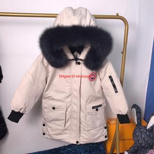 Crianças jaqueta crianças inverno roupas de grife meninos moda e meninas pato para baixo acolchoado casaco de pele chapéu colarinho projeto destacável quatro cores
