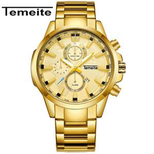 TEMEITE 2018 Nueva original Relojes para hombre de negocios superior de la marca de lujo de reloj de cuarzo Hombre Reloj de pulsera Hombre Fecha Relogio