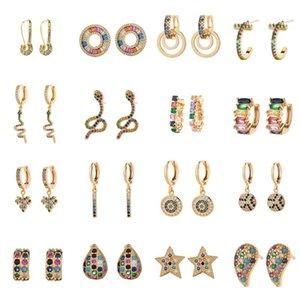 2020 New Style Rainbow Zircon Stud Earrings Jewelry for Women Charm Round Geometric Gold Earrings CZ Snake Studs Christmas Gift