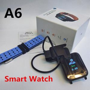 Smart Watch A6 Bluetooth Wearable empurrar lembra a pulseira inteligente Pedômetro taxa de coração À Prova D 'Água receber informações WeChat QQ SMS 50 Pacotes