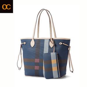 la moda Bolsa de Cosméticos clásico de calidad superior bolso de la lona revestida Da Mier Azul a cuadros solo bolso de hombro viejo zapatero de las mujeres libres de entrega