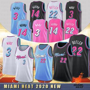 NCAA 3 Dwyane Wade Jerseys 22 Jimmy Butler NCAA College Basketball Jerseys 14 Tyler Herro 25 Kendrick Nunn Dwyane Miami Heat 2020 Novo Quente