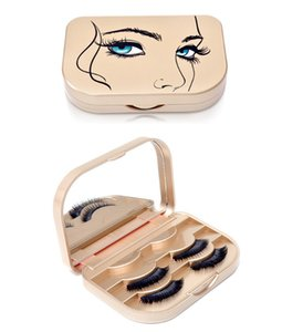 Factory wholesale high-end golden plastic eyelashes box false eyelashes storage box 3d false eyelashes makeup box customization