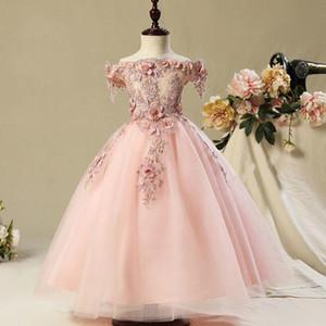 collare Flower Girl Dresses pizzo applique piatto Fluffy abito per il compleanno Get Together abiti da comunione Prima santi