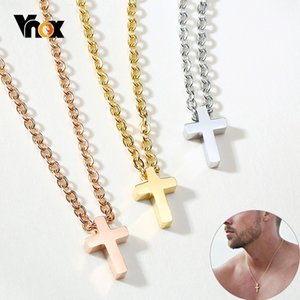 "Vnox Men's Small Cross Pendant Simple Classic Stainless Steel Jesus Christ Necklaces Religious Women Unisex Jewelry 20"" Chain"