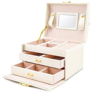 Caso de caixa de jóias / caixas / caixa de maquiagem, jóias e cosméticos Caso de beleza com 2 gavetas 3 camadas