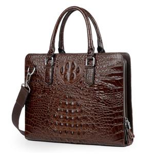 100% Cow Briefcase Shoulder Bag Natural Briefcase Men Business Genuine Alligator Laptop Handbag Tote Computer Leather Men Bags Hrbaa