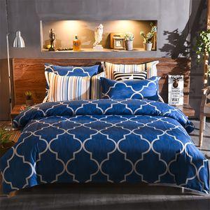 DHL libre de fábrica al por mayor de tela cómoda productos para el hogar patrón de cuadrícula azul ropa de cama sábanas diseñadas simplemente dejar de fumar 09