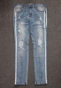 Hombre del diseñador de los pantalones vaqueros pantalones vaqueros lavados de los pantalones de pista retro tira lateral moda de la calle Denim Pantalones rasgados apenada delgado del lápiz pantalones de la motocicleta