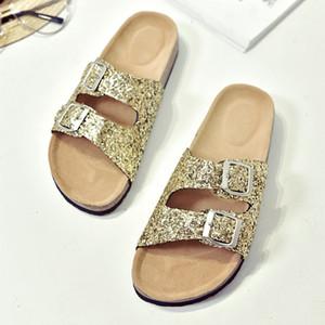 Sommer-Mädchen-Street Cork Hausschuhe Damendoppel Gürtel Sandalen Glitter Slides Buckle Sandalen Thong Flip Flops Flache Riemchen-Schuhe